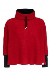 Kurz-Poncho mit Kragen - rot mit schwarzen Armstulpen