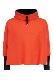 Kurz-Poncho mit Kragen - orange mit schwarzen Armstulpen