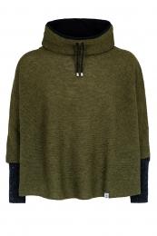 Kurz-Poncho mit Kragen - grün mit schwarzen Armstulpen