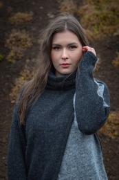 USUM - Dünner Damen Pullover - Grau / Schwarz