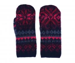 Mitaines de laine KID-058 - noir/rouge