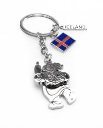 Schlüsselanhänger - Schwingende Frau in Island Tracht