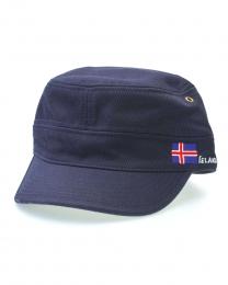 Kappe im Military-Stil - Islandflagge - blau