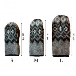 Woll-Handschuhe KID-061 - Rauten - Grau