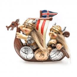 Wikinger Schiff mit Islandfahne - Mann und Frau