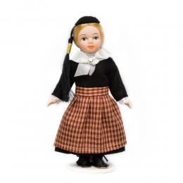 Porzellan-Puppe im isländischen National-Kostüm Peysuföt - 15 cm