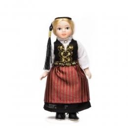 Porzellan-Puppe im isländischen National-Kostüm Upphlutur - 15 cm