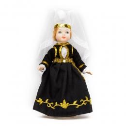 Porzellan-Puppe im isländischen National-Kostüm Skautbúningur - 15 cm