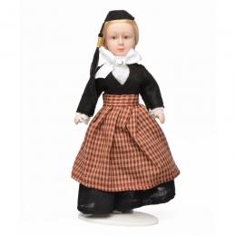 Porzellan-Puppe im isländischen National-Kostüm Peysuföt - 21 cm