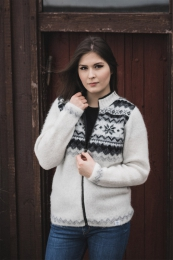 KIDKA 004 Womens Wool Cardigan - Icelandic Jumper - White/Black