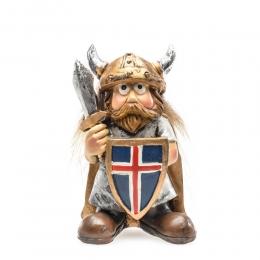 Wikinger mit Helm, Schwert und Island-Schild
