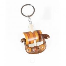 Schlüsselanhänger aus Holz - Wikingerschiff