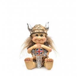 Resin Figur - Sitzender Wikinger mit Island-Schild