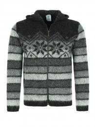 KIDKA 070 Veste en laine à capuche - noir et gris