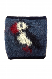 KIDKA 071 woolen wrist warmers with puffin motif - blue